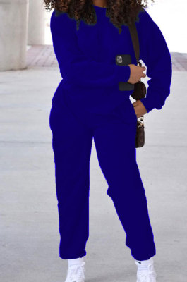 Royal Blue Simple Sport Loose Long Sleeve Round Neck Pocket Jumper Long Pants Solid Color Sets SM9206-1