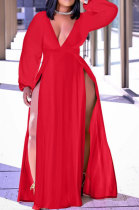 Red Sexy Big Yards Long Sleeve V Collar Slim Fitting Solid Color Slit Dress WA77273-2