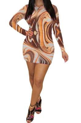 Orange Yellow Euramerican Women Autumn Winter Trendy Long Sleeve Backless Round Collar Mid Waist Mini Dress GB8033-1