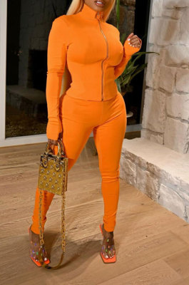Orange Wholesale Sport Pure Color Long Sleeve Stand Neck Zip Tops Pencil Pants Slim Fitting Two-Piece YSH86268-4
