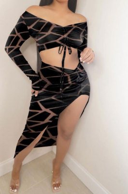 Black Women Casual Fashion Long Sleeve Irregular Dew Waist Split Shirred Detail Skirts Sets GB8034