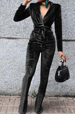Black Wholesale Velvet Long Sleeve Lapel Neck Suits Coat Flare Pants Sets TRS1182-1
