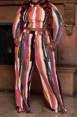 Multicolor Euramerican Women Fashion Casual Printing O Collar Plus Pants Sets AMW8339