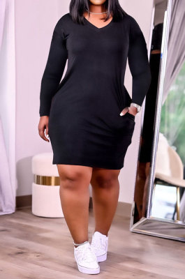 Black Women Fashion Loose Solid Color Round Collar Mid Waist Plus Mini Dress PH13252-1