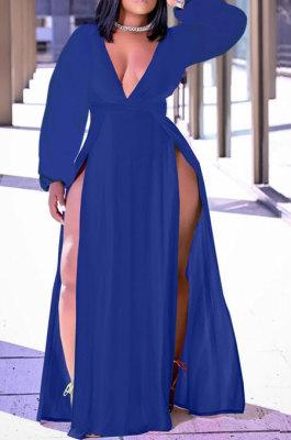 Blue Sexy Big Yards Long Sleeve V Collar Slim Fitting Solid Color Slit Dress WA77273-4