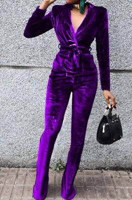 Purple Wholesale Velvet Long Sleeve Lapel Neck Suits Coat Flare Pants Sets TRS1182-5