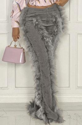 Gray Women Autumn Winter Corduroy Rough Selvedge Mid Waist Solid Color Flare Leg Pants MLM9078-5