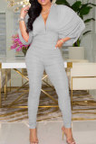 Blue Newest Batwing Sleeve V Neck Ruffle Collect Waist Solid Color Bodycon Jumpsuits WY6841-1