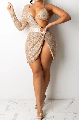 Apricot Women Sexy Sequins Pure Color Irregular Single Sleeve Split Skirts Sets XZ5307-3