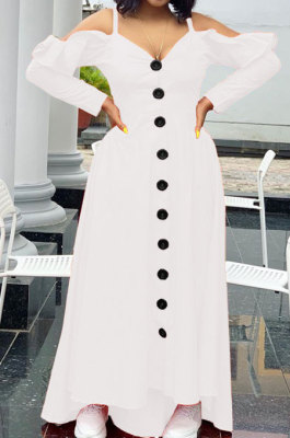 White Cute Preppy New Ruffle Long Sleeve Off Shoulder V Neck Buttoned Front Collect Waist Swing Long Dress SM9205-1