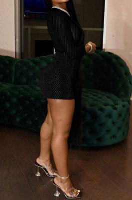 Black Women Pure Color Ribber Velvet Sexy Round Collar Mid Waist Long Sleeve Mini Dress KXL860-3