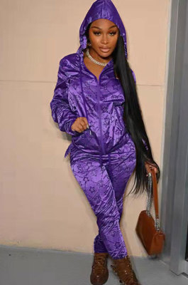 Purple Fashion Casual Print Long Sleeve Hoodie Pencil Pants Reflective Sets TK6200-4