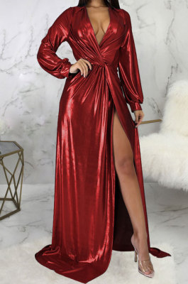 Wine Red Club Hot Starmping Long Sleeve V Collar Slim Fitting Sexy Slit Swing Long Dress SMR10194-1