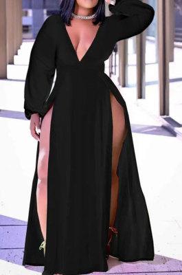 Black Sexy Big Yards Long Sleeve V Collar Slim Fitting Solid Color Slit Dress WA77273-3