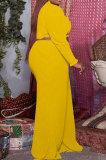 Pink Casual Faf Women Ruffle Sleeve Crop Tops High Waist Wide Leg Pants Solid Color Sets SZS8176-1