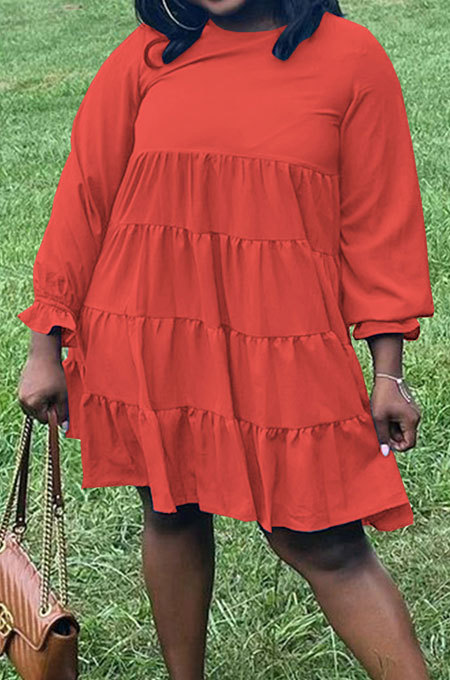 Red Wholesale Fat Women Long Sleeve Round Neck Button Back Loose Tiered Dress SZS8173-2