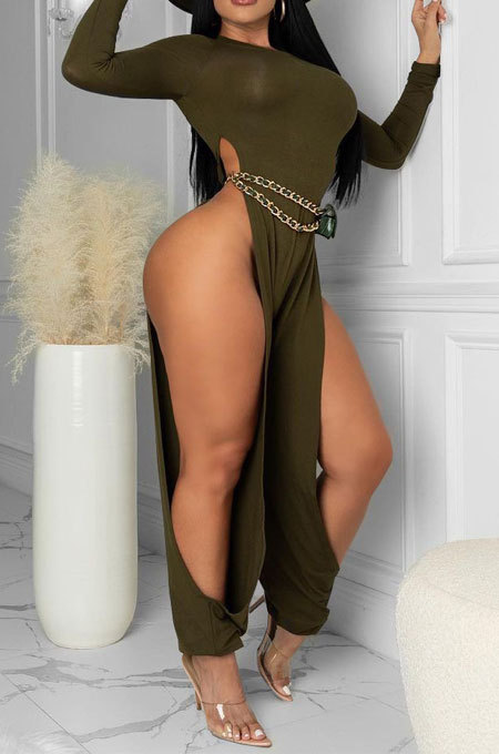 Army Green Cotton Blend Club Long Sleeve Round Neck Elastic Hollow Out Solid Color Jumpsuits YYF8248-5