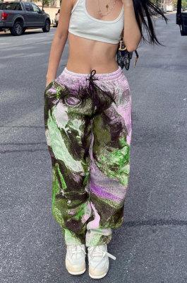 Neon Green Modest Positioning Print Drawsting Loose Cargo Pants SZS8180-1
