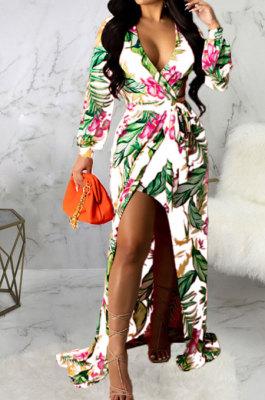 White Sexy Luxe Digital Print Long Sleeve V Neck Collect Waist Slit Maxi Dress SMR10476-3