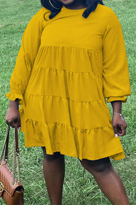 Yellow Wholesale Fat Women Long Sleeve Round Neck Button Back Loose Tiered Dress SZS8173-3
