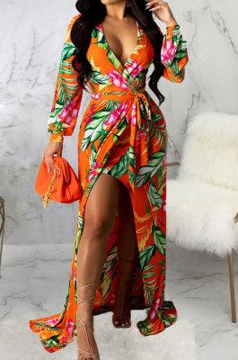 Orange Sexy Luxe Digital Print Long Sleeve V Neck Collect Waist Slit Maxi Dress SMR10476-1