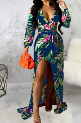 Drak Blue Sexy Luxe Digital Print Long Sleeve V Neck Collect Waist Slit Maxi Dress SMR10476-2