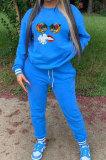 Royal Blue Ribber Cute Pattern Print Webbing Spliced Long Sleeve Jumper Sweat Pants Casual Sets SZS8177-1