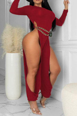 Red Cotton Blend Club Long Sleeve Round Neck Elastic Hollow Out Solid Color Jumpsuits YYF8248-3