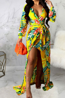 Yellow Sexy Luxe Digital Print Long Sleeve V Neck Collect Waist Slit Maxi Dress SMR10476-5