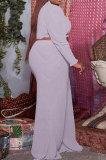 Yellow Casual Faf Women Ruffle Sleeve Crop Tops High Waist Wide Leg Pants Solid Color Sets SZS8176-2