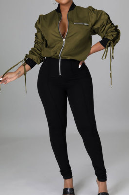 Green Casual Luxe Bandage Long Sleeve Zip Front Elastic Spliced Slim Fitting Jumpsuits YYZ865