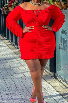Red Wholesale Fat Women Pure Color Long Sleeve Off Shoulder Ruffle Wrap Dress TD80069