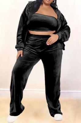 Black Velvet Fat Women Long Sleeve Zip Front Hooded Coat &Strapless High Waist Wide Leg Pants Three Piece ZNN9111-1