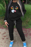 Black Ribber Cute Pattern Print Webbing Spliced Long Sleeve Jumper Sweat Pants Casual Sets SZS8177-3