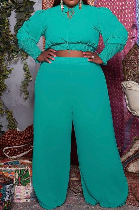 Lake Blue Casual Faf Women Ruffle Sleeve Crop Tops High Waist Wide Leg Pants Solid Color Sets SZS8176-3
