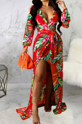 Red Sexy Luxe Digital Print Long Sleeve V Neck Collect Waist Slit Maxi Dress SMR10476-4