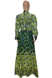 Peacock Blue Fashion Luxe Print Long Sleeve Hollow Out Zip Back Collect Waist Slit Dress SZS8171-2