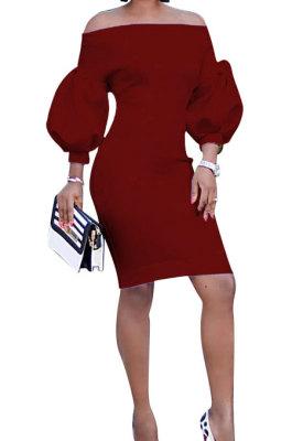 Wine Red Euramerican Women Pure Color Off Shoulder Sexy Lantern Sleeve Mid Waist Mini Dress R6129-4