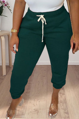 Dark Blue Women Solid Color Thick Mid Waist Loose Pants PH13255-4