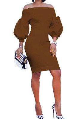 Coffee Euramerican Women Pure Color Off Shoulder Sexy Lantern Sleeve Mid Waist Mini Dress R6129-11