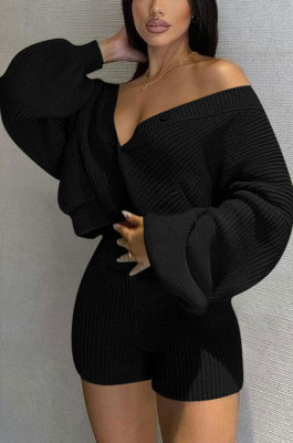 Black Cute Simple Long Sleeve V Neck Cardigan Tops Shorts Solid Color Sweater Sets F88393-3