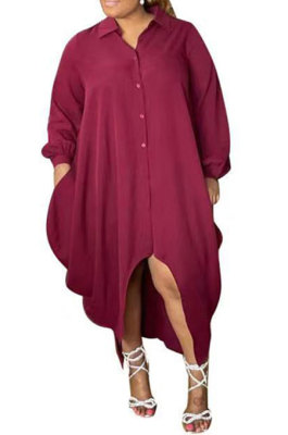 Wine Red Women Pure Color Button Turn-DownCollar Single-Breasted Shirts Mid Waist Plus Midi Dress PH13258-1