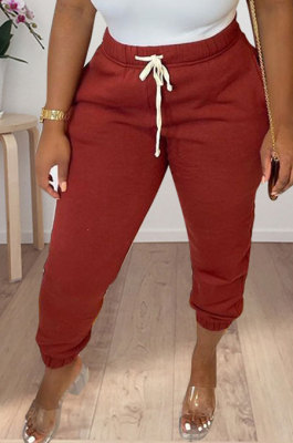 Wine Red Women Solid Color Thick Mid Waist Loose Pants PH13255-2