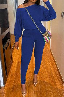 Royal Blue Autumn Winter Pure Color Lantern Sleeve Loose Tops Pencil Pants Sport Sets F88394-7