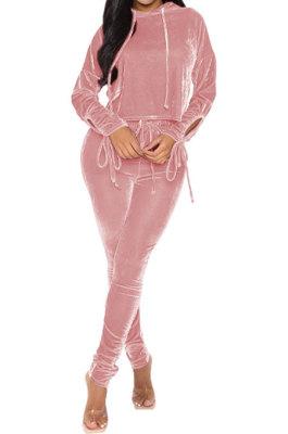 Pink Winter Velvet Long Sleeve Hoodie Drawsting Ruffle Pants Two-Piece ZNN9112-1