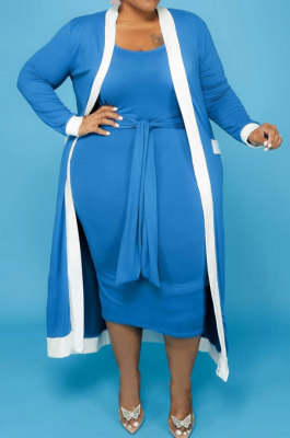 Blue Women Casual Pure Color Stripe Spliced Long Sleeve Coat Tank Plus Skirts Sets NY5101-3