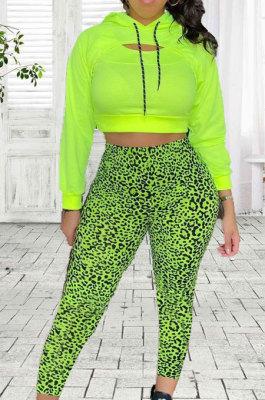 Neon Green Casual Long Sleeve Hoodie Leopard Print Pants Sport Sets JG060