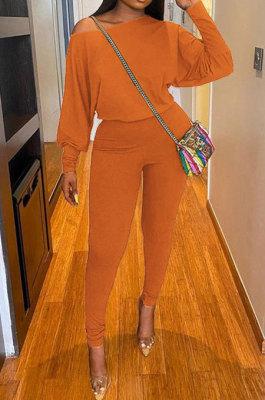 Orange Autumn Winter Pure Color Lantern Sleeve Loose Tops Pencil Pants Sport Sets F88394-8