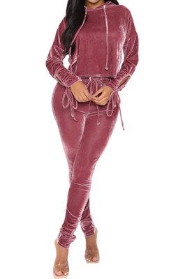 Wine Red Winter Velvet Long Sleeve Hoodie Drawsting Ruffle Pants Two-Piece ZNN9112-2