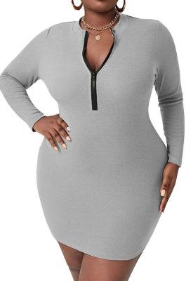 Gray Casual Ribber Zipper Pure Color Long Sleeve Tight Mid Waist Plus Mini Dress PH13260-2